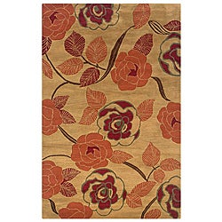 Hand-Tufted Hesiod Light Gold New Zealand Wool Rug (5' x 8')