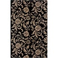Contemporary Hand-Tufted Hesiod Black Wool Rug (8' x 10')