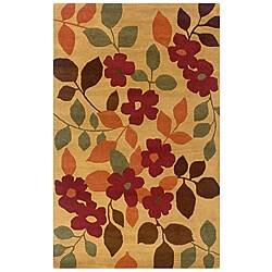 Hand-Tufted Hesiod Gold/Orange/Brown Floral Wool Rug (8' x 10')