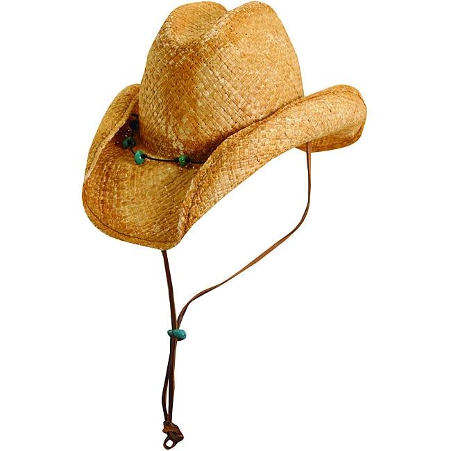 Scala Women's Tea Turquoise Trim Western Hat