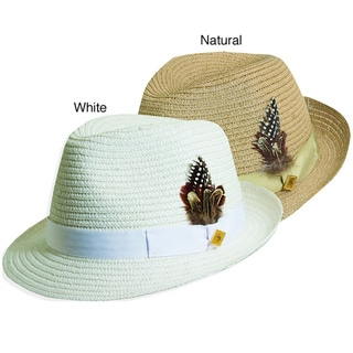 Stacy Adams Men's Straw Feather-embellished Straw Hat