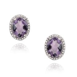 Glitzy Rocks Silver 3 1/3ct TGW Amethyst and Diamond Accent Earrings