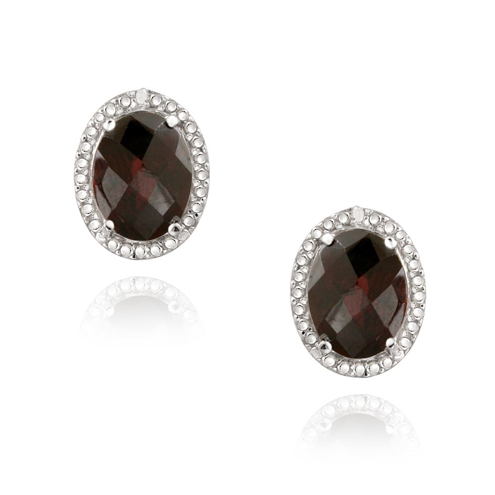 Glitzy Rocks Silver 4 2/5ct TGW Garnet and Diamond Accent Earrings