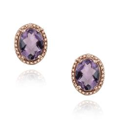 Glitzy Rocks Rose Gold/ Silver 3 1/3ct TGW Amethyst and Diamond Earrings