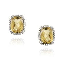 Glitzy Rocks Silver 4ct TGW Citrine and Diamond Accent Earrings