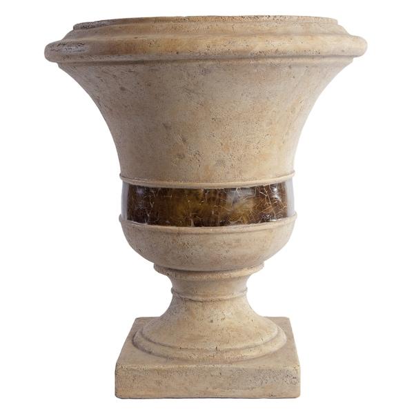 SomerTile Mediterranean Stoneware 18x16-inch Genova Cream with Shell Inlay Planter