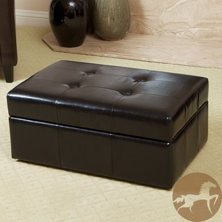 Christopher Knight Home Veranda Black Leather Storage Ottoman