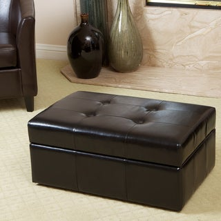 Veranda Black Leather Storage Ottoman