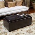Christopher Knight Home Maxwell Espresso Leather Tray Ottoman