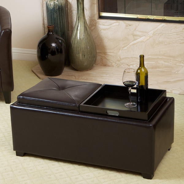 Maxwell Espresso Bonded Leather Tray Ottoman by Christopher Knight Home 8828857