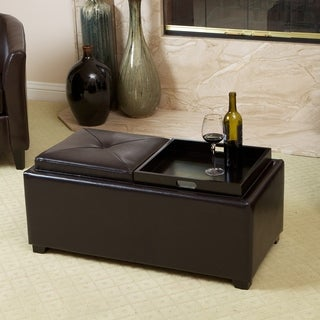 Christopher Knight Home Maxwell Espresso Bonded Leather Tray Ottoman