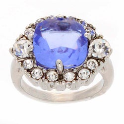 Simon Frank Silvertone Blue-and-white Cushion-cut Crystal Ring