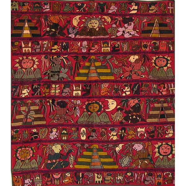 Cotton Burgundy Embroidered Mayan Tapestry (Guatemala)