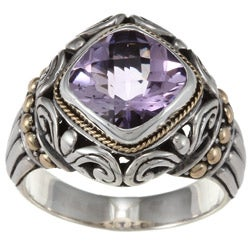 18k Gold and Sterling Silver Amethyst Gemstone Ring