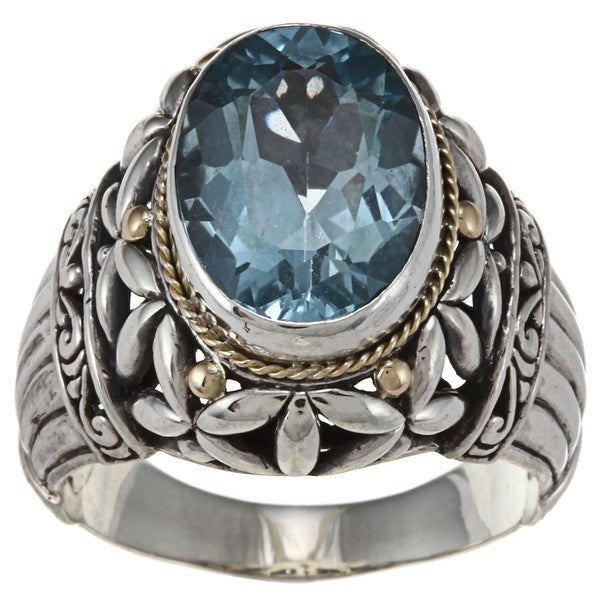 18k Gold and Sterling Silver Blue Topaz Ring