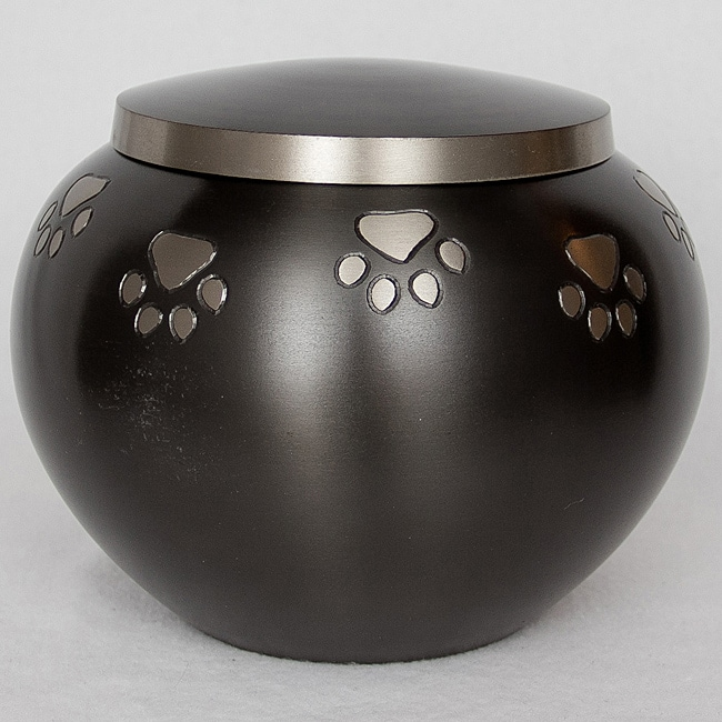 Star Legacy Pewter Paw Print Potbelly Small Pet Urn for Pets Up to 30 Pounds