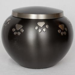 Star Legacy Pewter Paw Print Brass Potbelly Medium Pet Urn for Pets Up to 60 Pounds