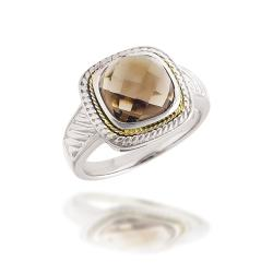 18k Gold and Sterling Silver Smokey Quartz Ring