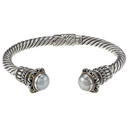 18k Gold and Sterling Silver Mabe Pearl Cuff Bracelet (10 mm)