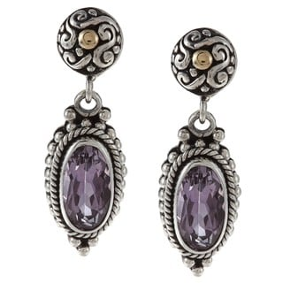 18k Gold and Sterling Silver Amethyst Earrings