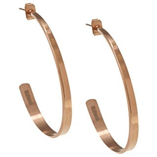 NEXTE Jewelry Rose Goldtone Stainless Steel Razor Smart Hoop Earrings