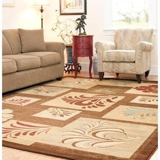 Safavieh Lyndhurst Floral Panels Brown Rug (9' x 12')