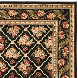 Lyndhurst Floral Trellis Black Rug (9' x 12')