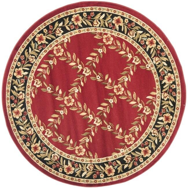 Safavieh Lyndhurst Trellis Gardens Red/ Black Rug (5'3 Round)