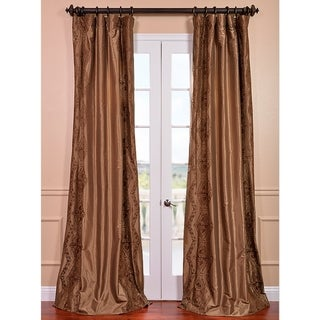 Chai Embroidered Faux Silk 108-inch Curtain Panel