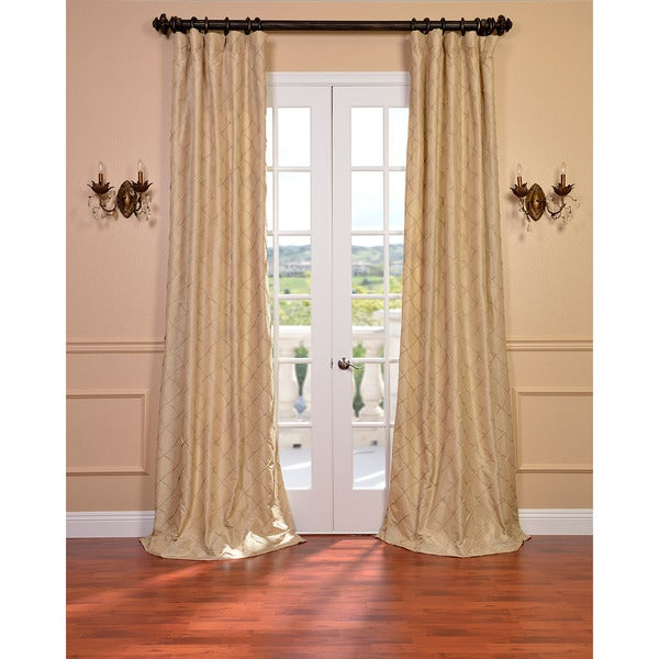Exclusive Fabrics Carneros Brut Hand Sewn Faux Silk Pintuck 84-inch Curtain Panel