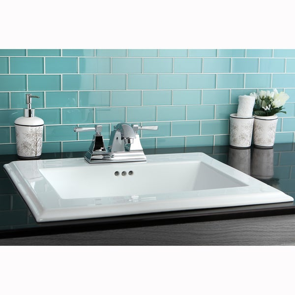 Surface Mount 4-inch Center Bathroom Sink - 14107067 - Overstock.com ...