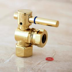 Polished Brass Slip Joint Angle Stop Shutoff Valve (1/2 FIP x 7/16 inch)