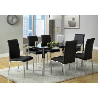Emilio 7-piece Black Glass Rectangular Dining Set