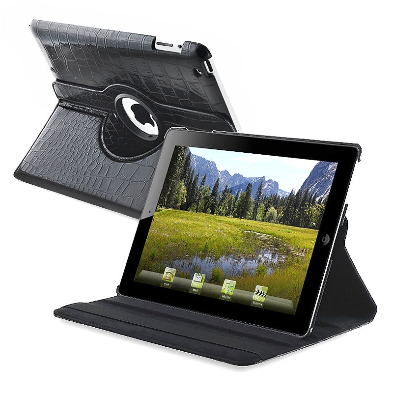 Black Crocodile Skin 360-degree Swivel Leather Case for Apple iPad 2