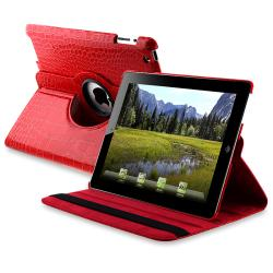 Red Crocodile Skin 360-degree Swivel Leather Case for Apple iPad 2
