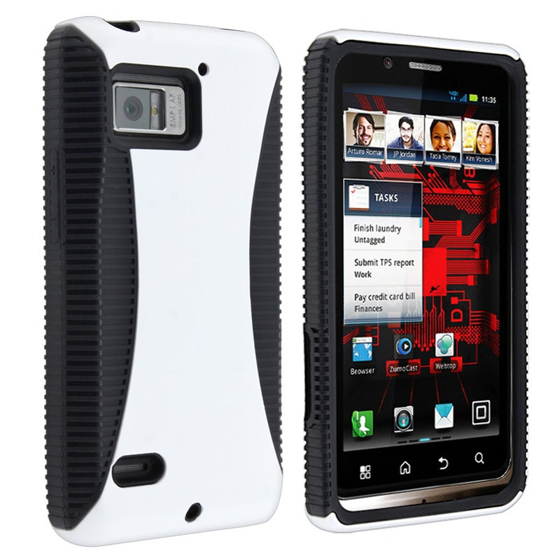 INSTEN Black TPU/ White Hard Plastic Hybrid Phone Case Cover for Motorola Droid Bionic XT875