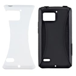 Black TPU/ White Hard Hybrid Case for Motorola Droid Bionic XT875