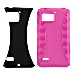 Hot Pink TPU/ Black Hard Hybrid Case for Motorola Droid Bionic XT875