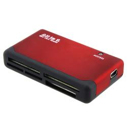 Compact Plug and Play Red/Black 26-in-1 USB 2.0 Memory Card Reader