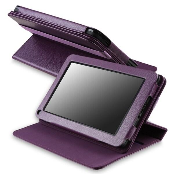 Purple 360-degree Swivel Leather Case for Amazon Kindle Fire