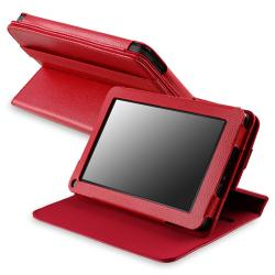Red 360-degree Swivel Leather Case for Amazon Kindle Fire