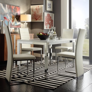 TRIBECCA HOME Reynold White Metal Sleek Modern 5-piece Dining Set