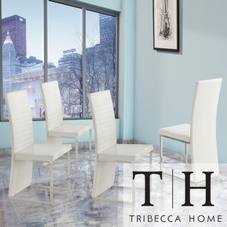 TRIBECCA HOME Reynold White Metal Sleek Modern Contoured Dining Chair (Set of 4)