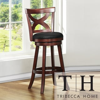 TRIBECCA HOME Crosby Cherry X-back 29-inch Swivel Barstool