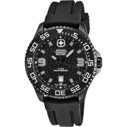 Wenger Men's Trekker Black Dial Rubber Strap Watch
