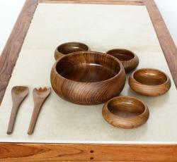 Teak Salad Bowl 7-piece Boxed Serving Set (Thailand)