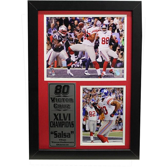 Super Bowl XLVI Champion New York Giants Victor Cruz Framed Stat Photo