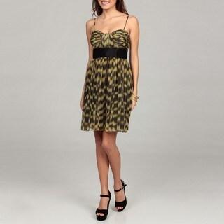 Calvin Klein Women's Black/ Green Printed Ruched Dress