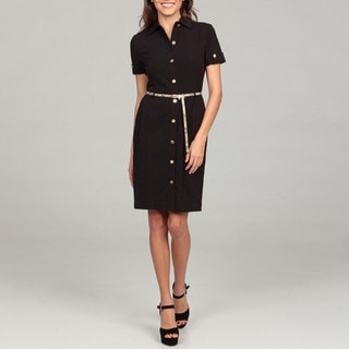 Calvin Klein Women's Black Belted Shirt Dress