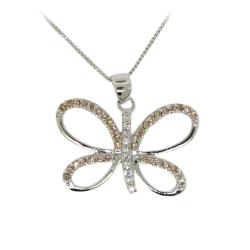 Sterling Silver Champagne and White Cubic Zirconia Butterfly Necklace